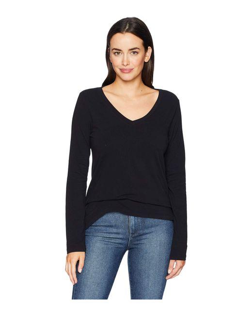 Dylan By True Grit - Effortless Long Sleeve V Tee (black) Women's T Shirt - Lyst