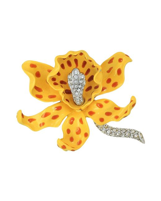 Kenneth Jay Lane - Multicolor Yellow/brown Spots Orchid Pin (yellow/brown) Brooches Pins - Lyst