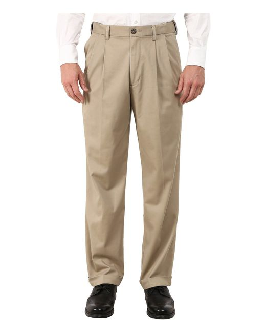 Dockers - Natural Comfort Khaki Stretch Relaxed Fit Pleated ( Navy) Men's Casual Pants for Men - Lyst