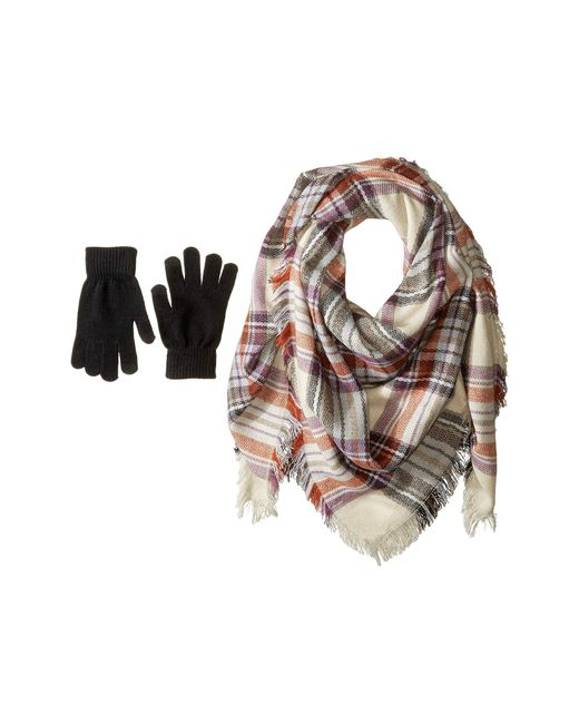 Steve Madden - Multicolor Classic Plaid Square Blanket Wrap With Etouch Glove Set (taupe) Scarves - Lyst