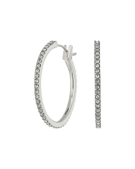 Lauren by Ralph Lauren | Metallic Social Set Medium Pave Hoop Earrings | Lyst