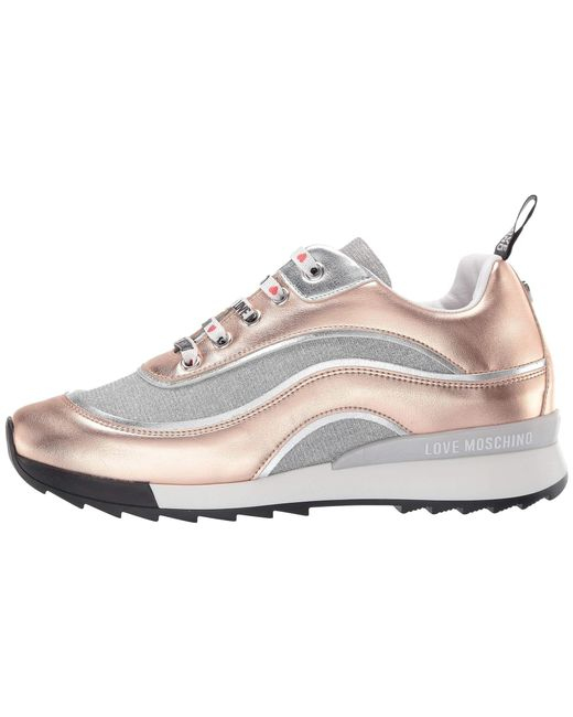 6212d89f1ee ... Love Moschino - Metallic Sneaker With Glitter Mesh (rose Gold) Women s  Shoes ...