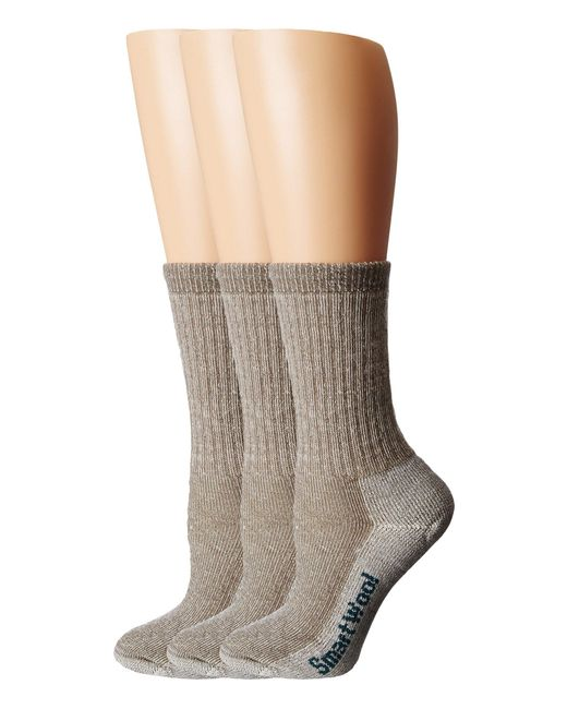 Smartwool - Brown Hike Medium Crew 3-pack (taupe) Women's Crew Cut Socks Shoes - Lyst