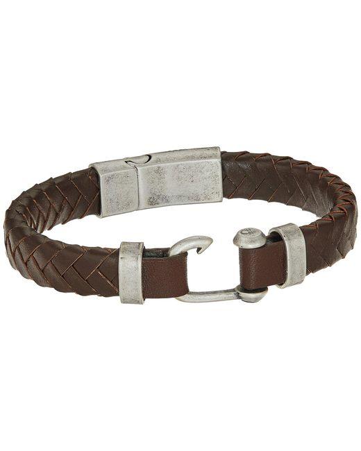 Steve Madden | Metallic Stainless Steel Leather Bracelet for Men | Lyst