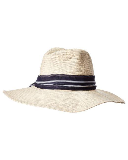 Hat Attack - Multicolor Harbor Sun Hat With Scarf Tie (natural navy Stripe)  ... 4eeca90f881