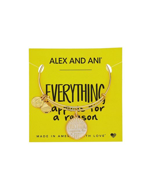 ALEX AND ANI - Metallic Words Are Powerful - Everything Happens For A Reason Ii Bangle (shiny Gold) Bracelet - Lyst