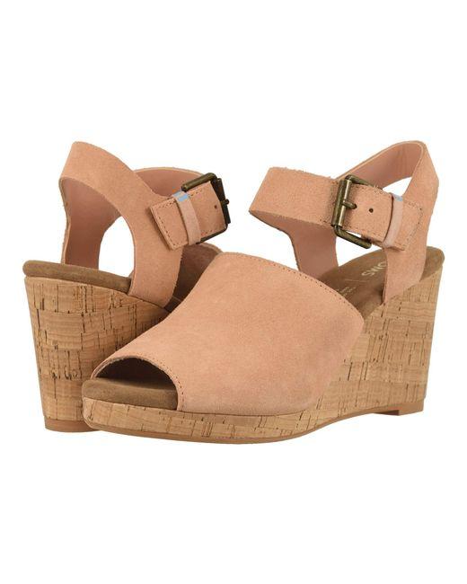fcf9a535ec72 TOMS - Pink Tropez (black Suede leather) Women s Wedge Shoes - Lyst ...