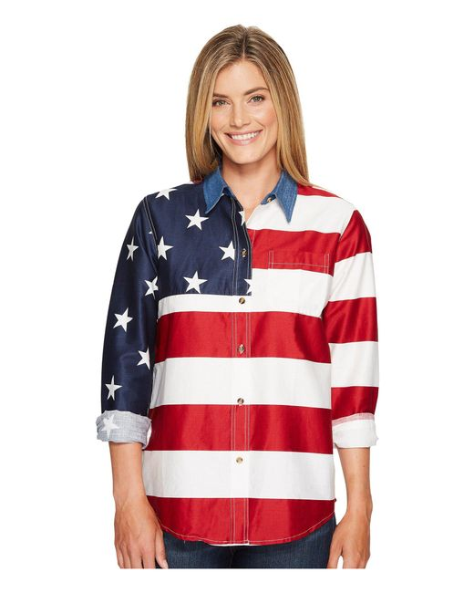 Roper - Red L/s Stars And Stripes Pieced Flag - Lyst