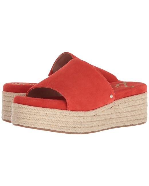 Sam Edelman - Weslee (candy Red Kid Suede Leather) Women's Sandals - Lyst