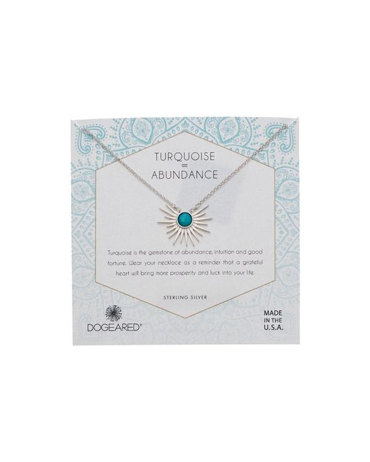Dogeared - Metallic Detailed Sun Rays Pendant With Turquoise Stone Necklace (sterling Silver) Necklace - Lyst