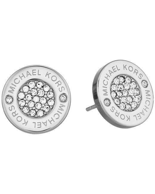 Michael Kors - Metallic Logo With Clear Pavé Center Stud Earring - Lyst