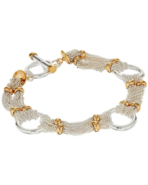 "Lauren by Ralph Lauren | Metallic Back To Basics Ii 7.5"" Fine Chain And Ring Two-tone Bracelet 