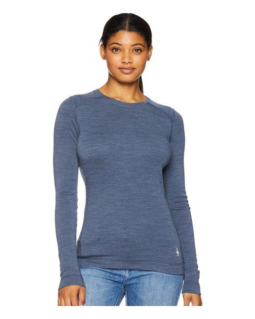 Smartwool - Nts Mid 250 Crew Top (dark Blue Steel Heather) Women's Long Sleeve Pullover - Lyst