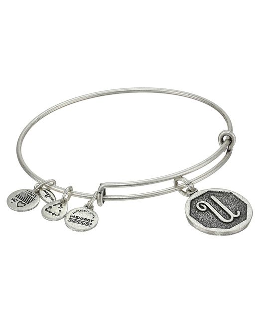 ALEX AND ANI - Metallic Initial U Charm Bangle - Lyst