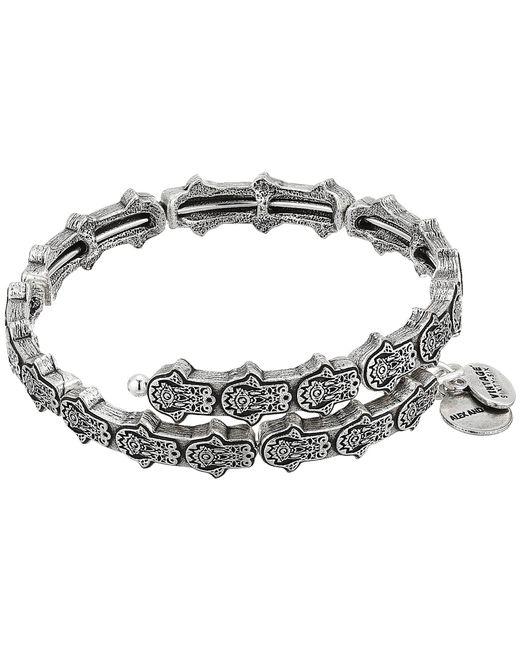 ALEX AND ANI - Metallic Hand Of Fatima Wrap Bracelet (rafaelian Silver) Bracelet - Lyst