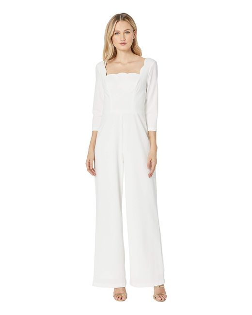 dd1ab5117c7 Adrianna Papell - White Knit Crepe Scalloped Jumpsuit (ivory) Women s  Jumpsuit   Rompers One ...