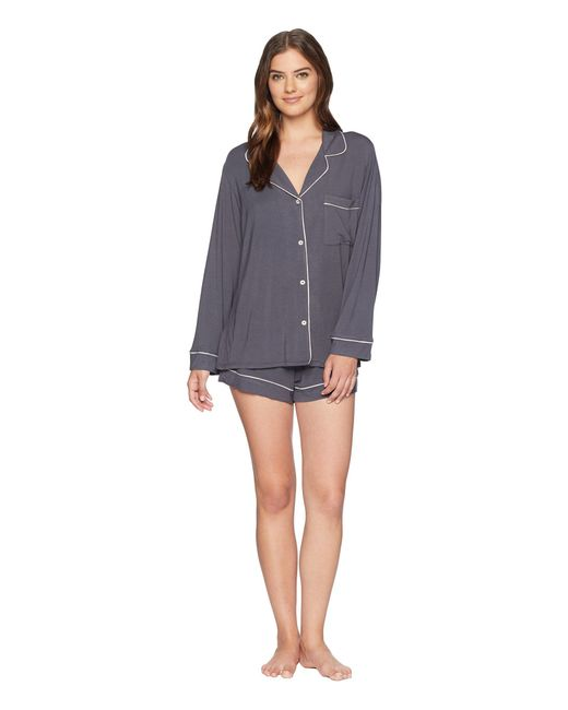 Eberjey - Gray Gisele Two-piece Sleeve & Short Pajama Sleepwear Set - Lyst