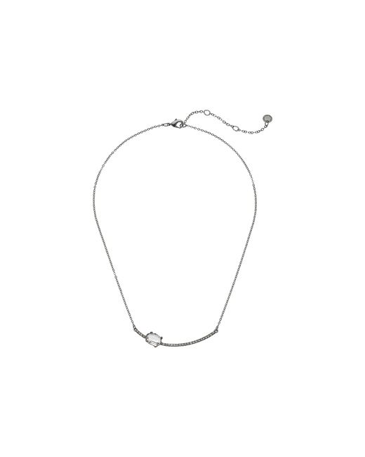 """French Connection - Metallic Pave Bar With Stone Necklace 16"""" - Lyst"""
