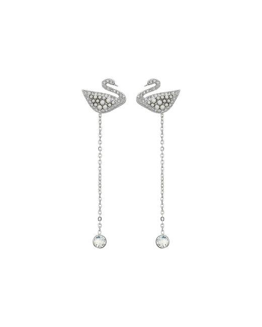 84416db13 Swarovski Iconic Swan Drop Earrings in White - Lyst