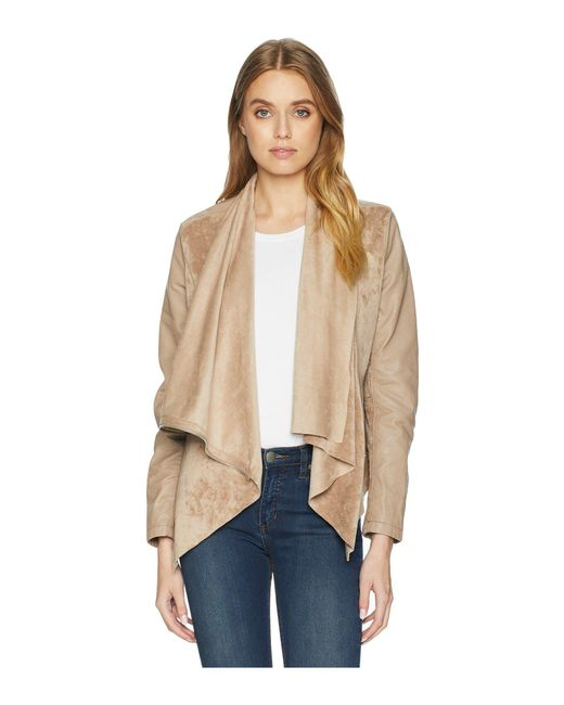 Blank NYC - Natural Faux Suede Drape Front Jacket In Hump Day (hump Day) Women's Coat - Lyst