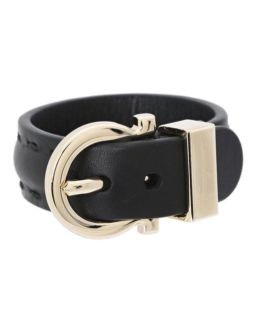 Ferragamo   Black Gancio Leather Bracelet   Lyst