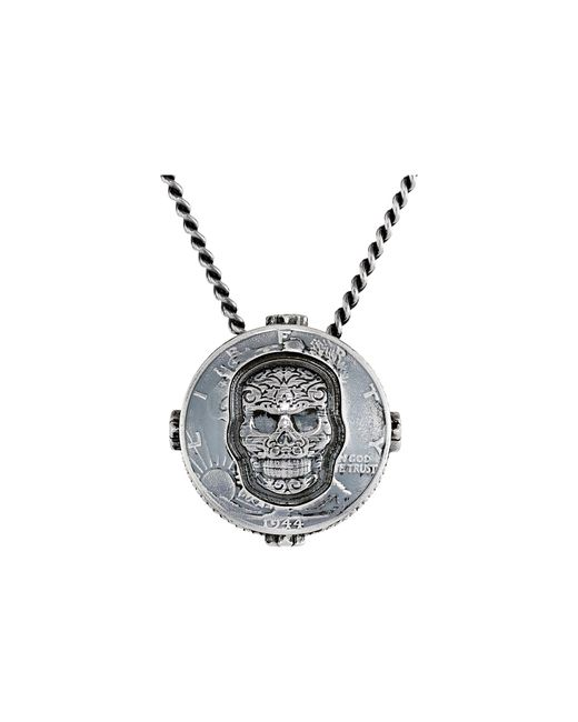 King Baby Studio | Metallic Liberty Half Dollar Pendant Necklace W/ Carved Baroque Skull for Men | Lyst