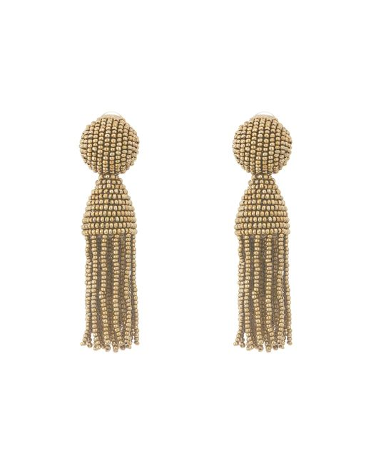 Oscar de la Renta | Brown Beaded Tassel Clip Earrings | Lyst
