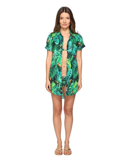 Onia | Green Jesse Printed Button Cover Up | Lyst