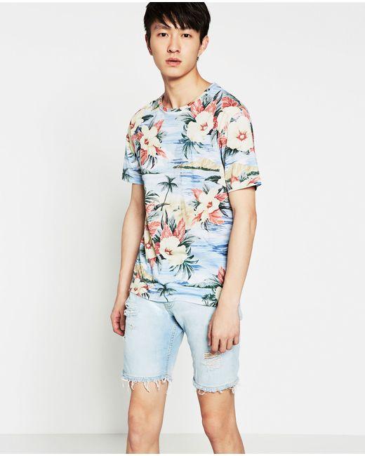 Zara hawaiian floral print t shirt in floral for men blue for Zara mens floral shirt