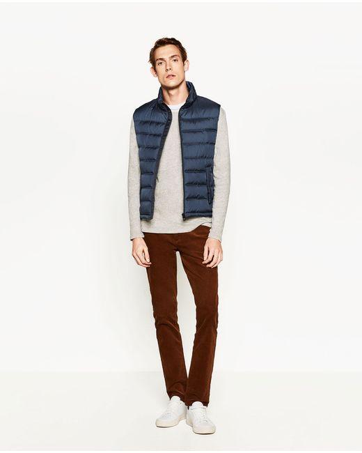 Zara | Blue Quilted Vest for Men | Lyst