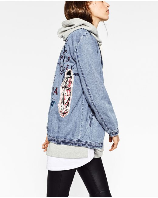 Zara embroidered denim bomber jacket in multicolor lyst