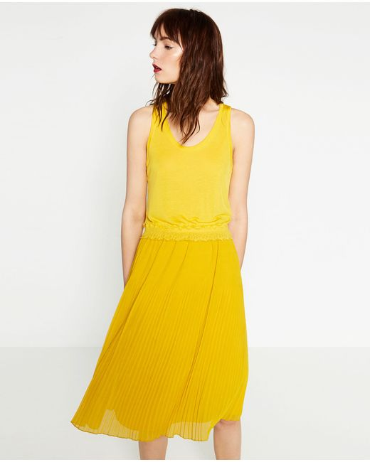 zara pleated midi skirt in yellow lyst