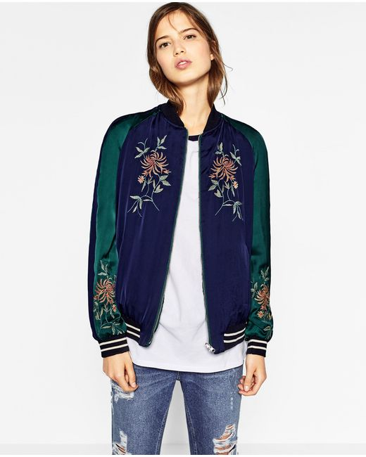 Zara embroidered reversible bomber jacket in blue lyst