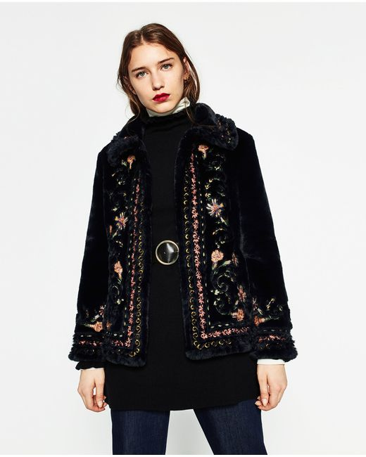 Zara Embroidered Faux-Fur Jacket In Multicolor | Lyst