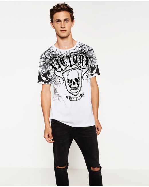 Zara | White Striped T-shirt With Patches for Men | Lyst