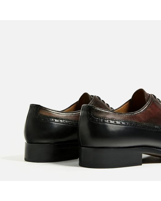 zara two tone leather shoes in multicolour for lyst
