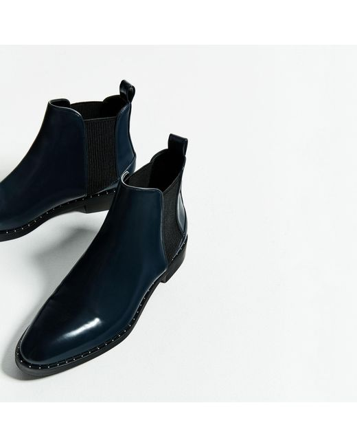 zara studded detail flat ankle boots in blue lyst