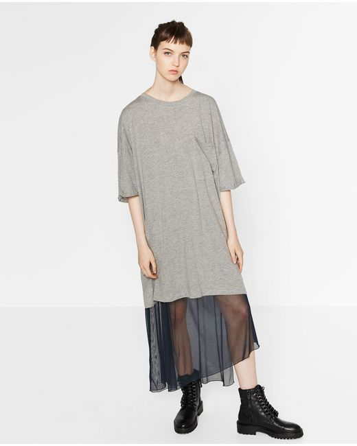 Zara | Gray Oversized T-shirt Dress | Lyst