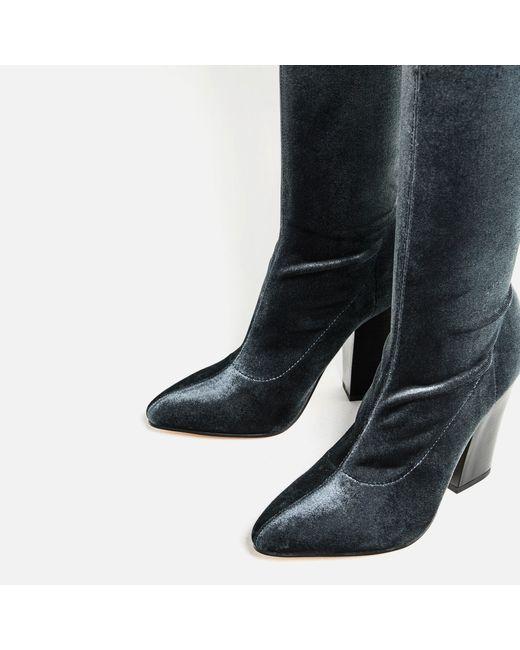 zara velvet the knee high heel boots in multicolor lyst