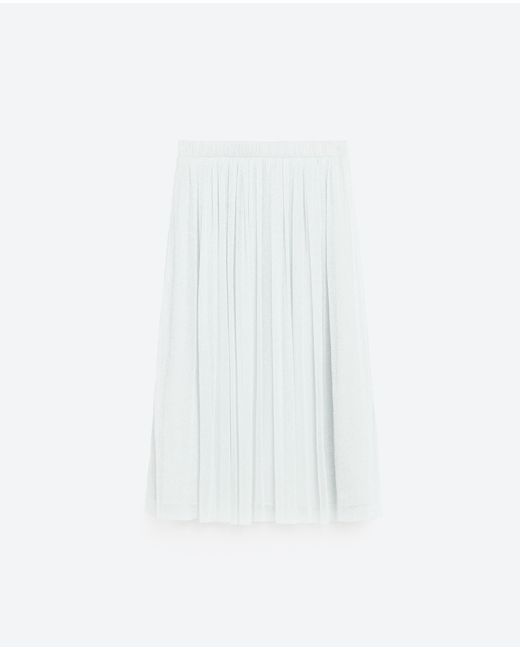 zara tulle midi skirt in metallic lyst