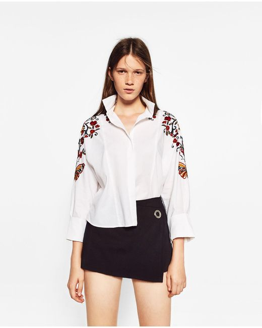 Zara floral embroidered shirt in multicolor lyst for Zara mens floral shirt