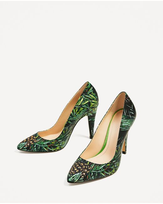 Zara Leather High Heel Shoes With Tropical Print In Green