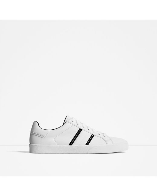 Zara Studded White Sneakers In White For Men Lyst