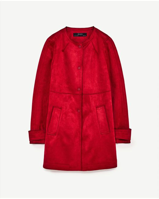Zara Faux Suede Coat With Round Neck In Red Lyst