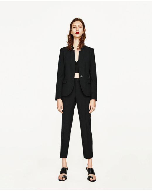 Zara Inverted Lapel Blazer In Black Lyst