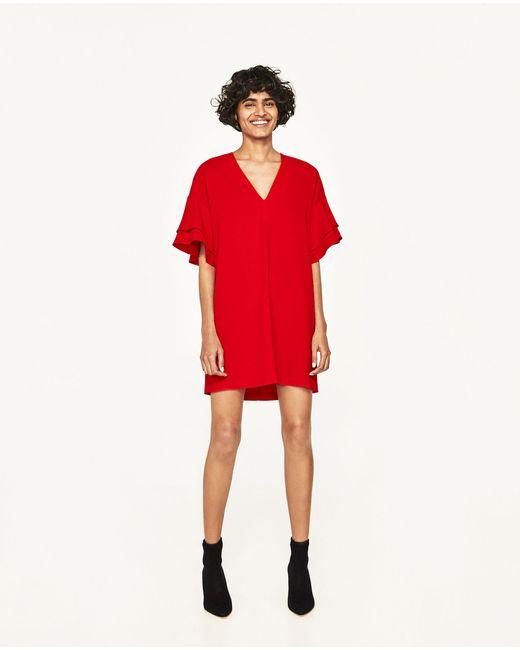 Zara | Red Frilled-sleeve Dress | Lyst