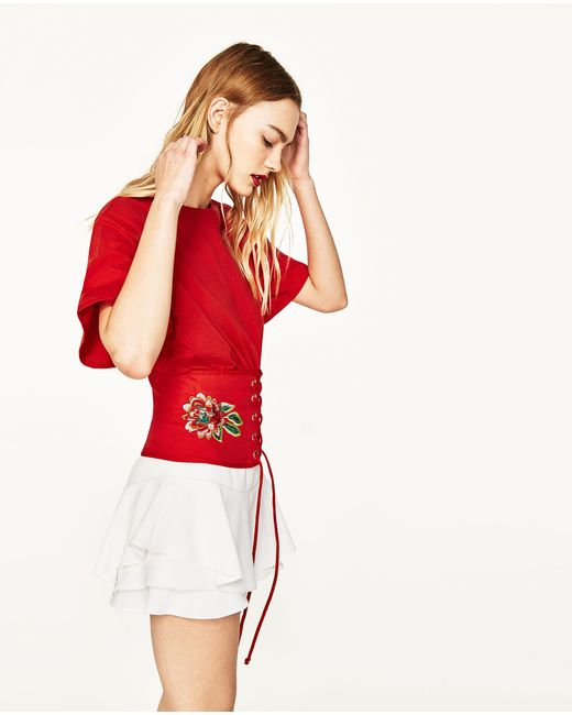 Zara t shirt with embroidered corset in red lyst