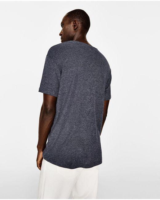 Zara embroidered flower t shirt in blue for men lyst