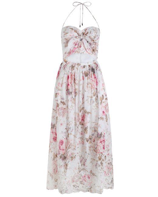 Zimmermann eden embroidered tie dress in floral lyst