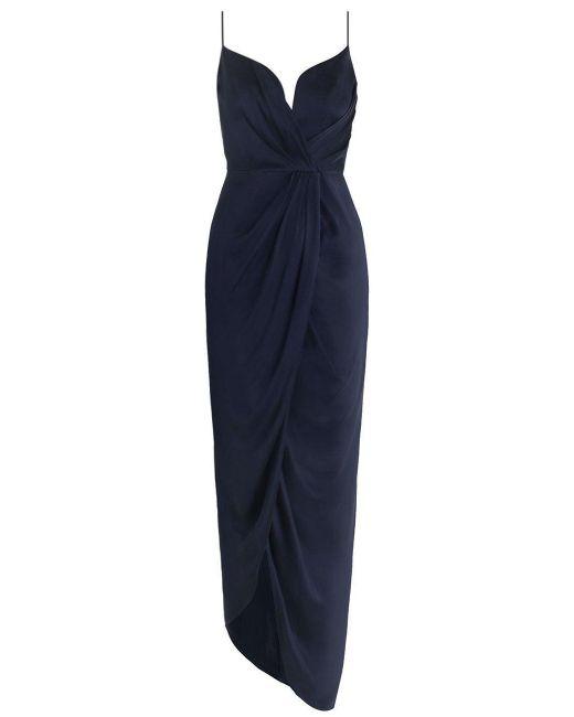Zimmermann | Blue Sueded Silk Plunge Long Dress | Lyst